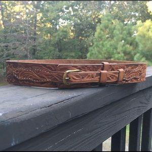 Vintage Hand Tooled Leather Floral Belt